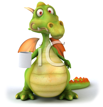 Royalty Free Clipart Image of a Dragon With a Mug