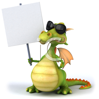 Royalty Free Clipart Image of a Dragon in Sunglasses With a Sign