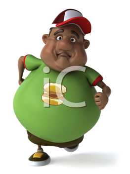 Royalty Free Clipart Image of an Overweight Man Running