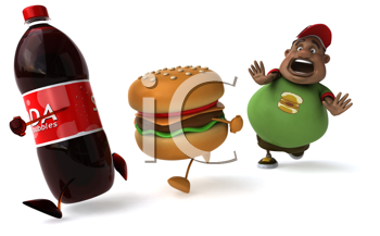 Royalty Free Clipart Image of a Man Running Behind a Pop and a Burger