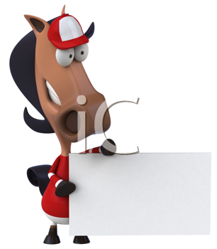 Royalty Free Clipart Image of a Jockey Horse With a Sign