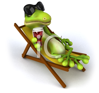 Royalty Free Clipart Image of a Lizard Lounging in a Beach Chair