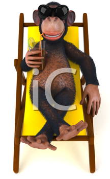 Royalty Free Clipart Image of a Monkey in a Lounger With a Drink