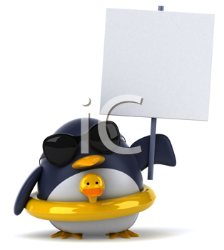 Royalty Free Clipart Image of a Penguin With a Rubber Duck Ring and a Sign