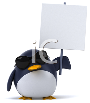 Royalty Free Clipart Image of a Penguin in Sunglasses With a Placard
