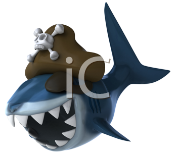 Royalty Free Clipart Image of a Pirate Shark