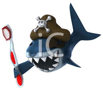 Royalty Free Clipart Image of a Pirate Shark With a Toothbrush
