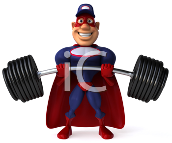 Royalty Free Clipart Image of a Superhero Mechanic Lifting Weights