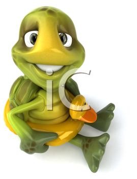 Royalty Free Clipart Image of a Turtle With a Duck Ring