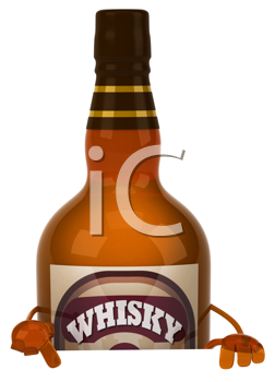 Royalty Free Clipart Image of a Whisky Bottle
