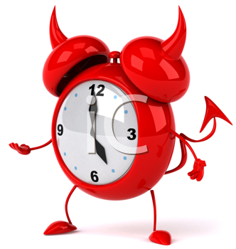 Royalty Free Clipart Image of a Devil Alarm Clock