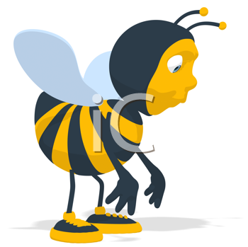 Royalty Free Clipart Image of a Bee Looking Sad