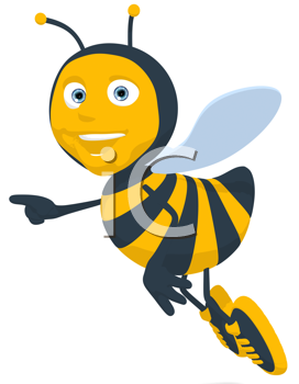 Royalty Free Clipart Image of a Pointing Bee