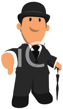 Royalty Free Clipart Image of a Man in a Bowler
