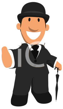 Royalty Free Clipart Image of a Man in a Derby