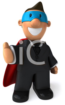 Royalty Free Clipart Image of a Superhero Businessman