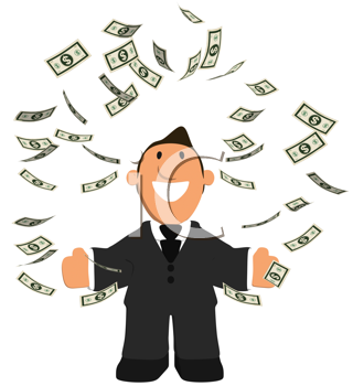 Royalty Free Clipart Image of a Man Juggling Money
