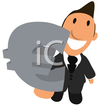 Royalty Free Clipart Image of a Man With a Euro Symbol