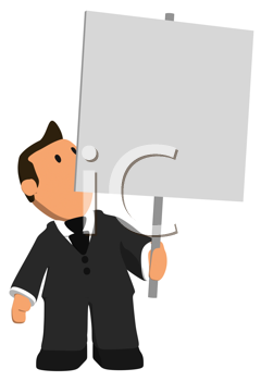 Royalty Free Clipart Image of a Man With a Placard