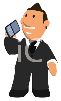 Royalty Free Clipart Image of a Man Talking on a Cellphone