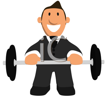 Royalty Free Clipart Image of a Weightlifting Businessman