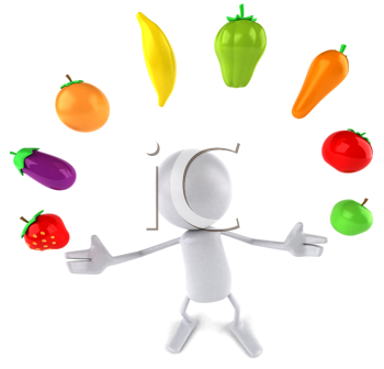 Royalty Free Clipart Image of a Faceless Person Juggling Veggies and Fruit