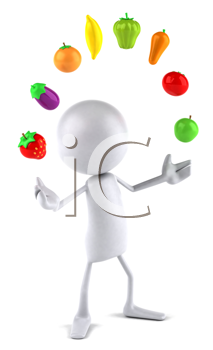 Royalty Free Clipart Image of a Faceless Person Juggling Veggies and Fruits