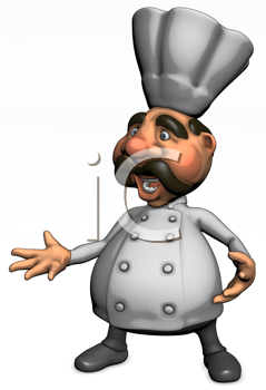 Royalty Free Clipart Image of a Chef With His Hand Out