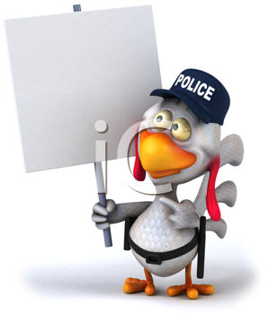 Royalty Free Clipart Image of a Police Chicken With a Sign