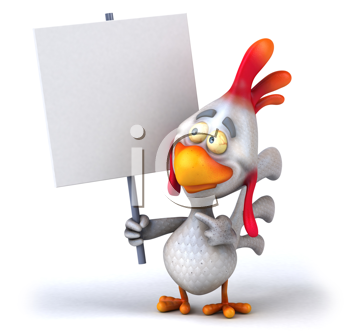 Royalty Free Clipart Image of a Chicken With a Sign