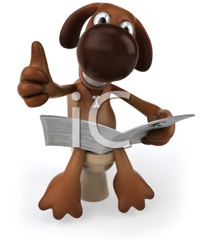 Royalty Free Clipart Image of a Dog on a Toilet Giving a Thumbs Up