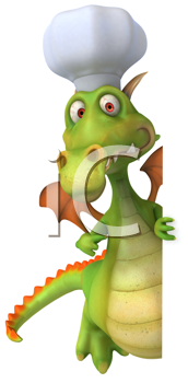 Royalty Free Clipart Image of a Dragon Chef