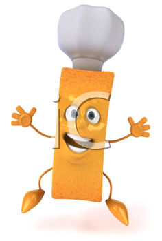Royalty Free Clipart Image of a French Fry in a Chef's Hat
