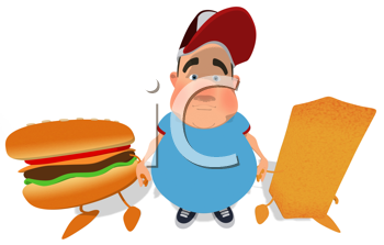 Royalty Free Clipart Image of an Overweight Man Holding Hands With a Burger and French Fires