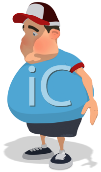 Royalty Free Clipart Image of a Sad Overweight Man