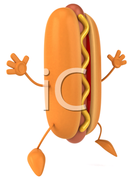 Royalty Free Clipart Image of a Happy Hotdog