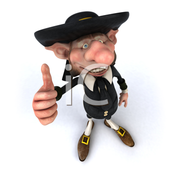 Royalty Free Clipart Image of Korrigan Giving a Thumbs Up