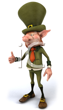 Royalty Free Clipart Image of a Leprechaun Giving a Thumbs Up