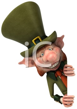 Royalty Free Clipart Image of a Smiling Leprechaun