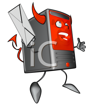 Royalty Free Clipart Image of a Devil Modem With a Letter