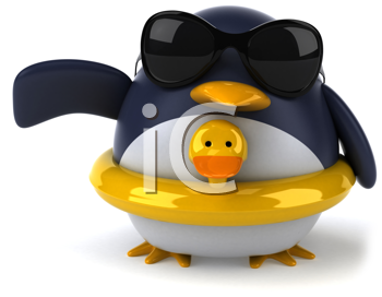 Royalty Free Clipart Image of a Penguin With Duck Ring