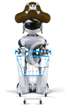 Royalty Free Clipart Image of a Pirate Robot With a Shopping Cart