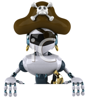 Royalty Free Clipart Image of a Pirate Robot
