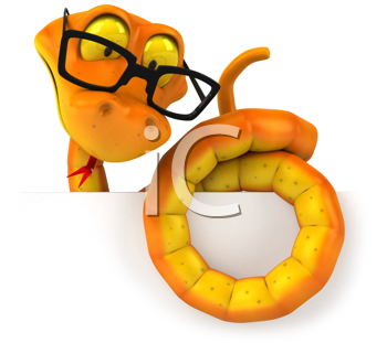 Royalty Free Clipart Image of a Snake in Glasses