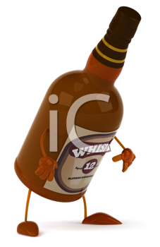 Royalty Free Clipart Image of a Whisky Bottle Bent Over
