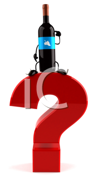 Royalty Free Clipart Image of a Wine Bottle on a Question Mark
