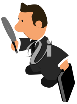 Royalty Free Clipart Image of a Guy in a Suit With a Briefcase and Magnifying Glass