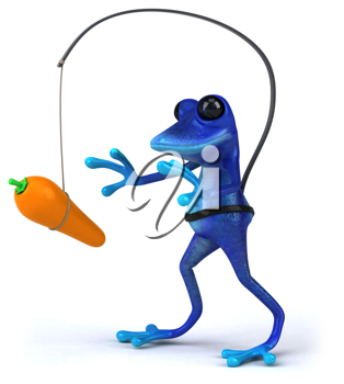 Royalty Free Clipart Image of a Frog With a Carrot Dangling in Front of It
