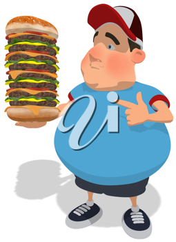 Royalty Free Clipart Image of a Guy Pointing to a Big Cheeseburger