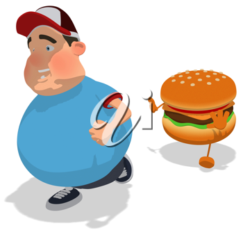 Royalty Free Clipart Image of a Man Fleeing a Burger